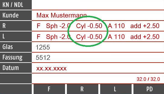 Brillenpass Zylinder Werte